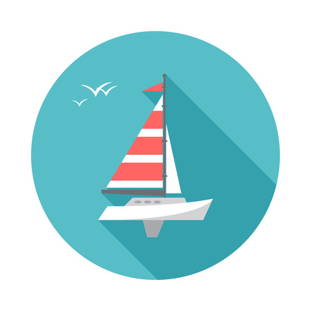 Sailing ship circle icon with long shadow. Flat design style. Boat simple silhouette. Modern, minimalist, round icon in stylish colors. Website page and mobile app design vector element.
