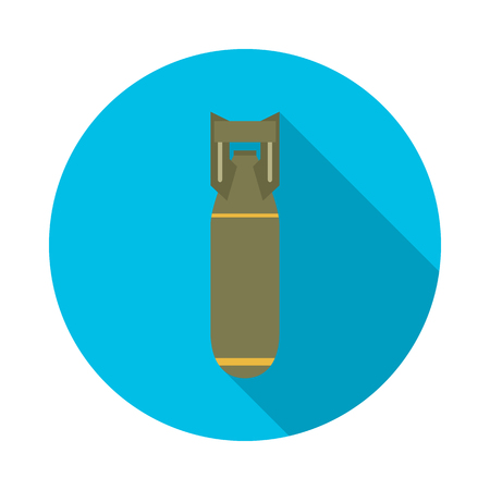 Bomb circle icon with long shadow. Flat design style. Bomb simple silhouette. Modern, minimalist, round icon in stylish colors. Website page and mobile app design vector element.