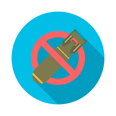 Stop bombing circle icon with long shadow. Flat design style. No bomb simple silhouette. Modern, minimalist, round icon in stylish colors. Website page and mobile app design vector element. Illustration