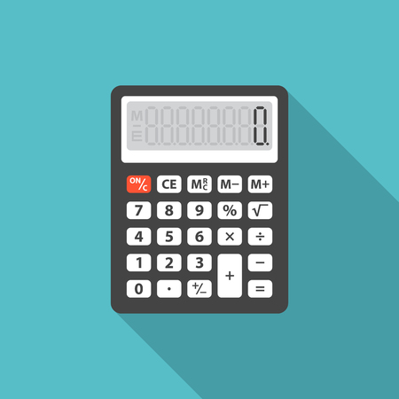 Calculator icon with long shadow. Flat design style. Calculator simple silhouette. Modern, minimalist icon in stylish colors. Web site page and mobile app design vector element. Vettoriali