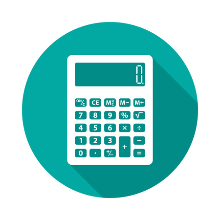 Calculator circle icon with long shadow. Flat design style. Calculator simple silhouette. Modern, minimalist, round icon in stylish colors. Website page and mobile app design vector element. Ilustração