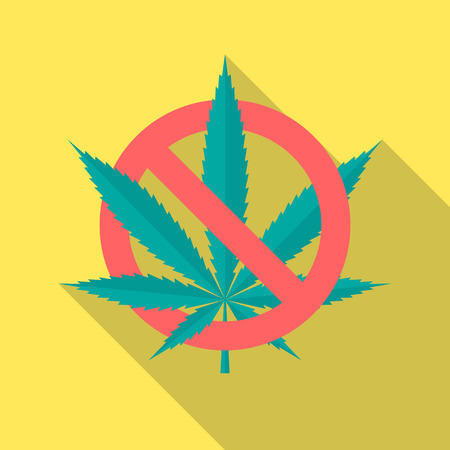 No cannabis icon with long shadow. Flat design style. No marijuana simple silhouette. Modern, minimalist icon in stylish colors. Web site page and mobile app design vector element.