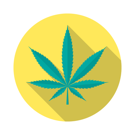 Cannabis circle icon with long shadow. Flat design style. Marijuana simple silhouette. Modern, minimalist, round icon in stylish colors. Website page and mobile app design vector element.