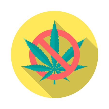 No cannabis circle icon with long shadow. Flat design style. No marijuana simple silhouette. Modern, minimalist, round icon in stylish colors. Website page and mobile app design vector element.