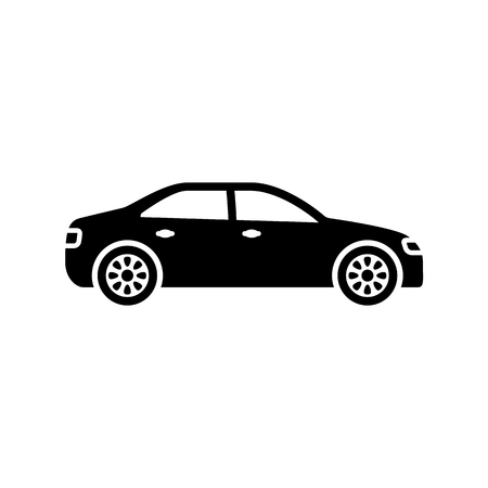 Car icon. Black, minimalist icon isolated on white background. Car simple silhouette. Web site page and mobile app design vector element. Vettoriali