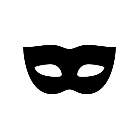 Carnival mask icon. Black, minimalist icon isolated on white background. Mask drive simple silhouette. Web site page and mobile app design vector element.  イラスト・ベクター素材