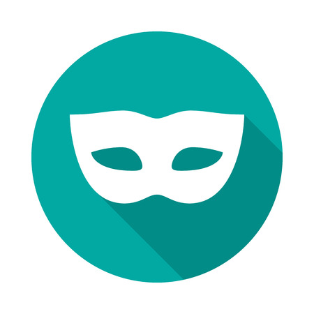 Carnival mask circle icon with long shadow. Flat design style. Mask simple silhouette. Modern, minimalist, round icon in stylish colors. Web site page and mobile app design vector element.