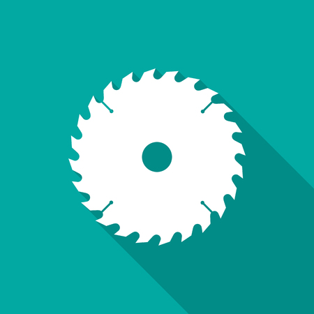 Circular saw blade icon with long shadow. Flat design style. Saw blade simple silhouette. Modern, minimalist icon in stylish colors. Web site page and mobile app design vector element.