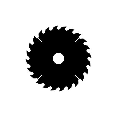 Circular saw blade icon. Black, minimalist icon isolated on white background. Saw blade simple silhouette. Web site page and mobile app design vector element.