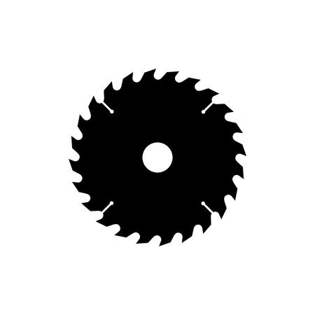 Ikona piły tarczowej. Czarna, minimalistyczna ikona odizolowywająca na białym tle. Piła prosta sylwetka. Strona internetowa i element wektora projektu aplikacji mobilnej.