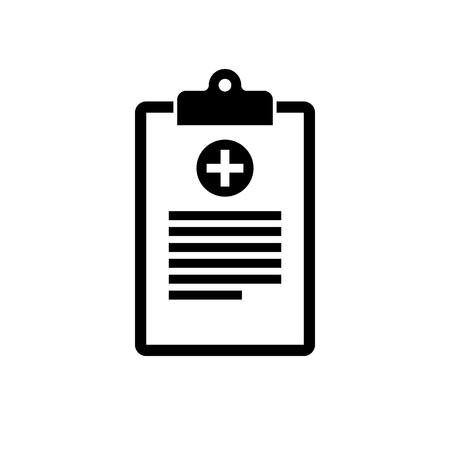 Medical clipboard icon. Black, minimalist icon isolated on white background. Clipboard simple silhouette. Web site page and mobile app design vector element. Vettoriali
