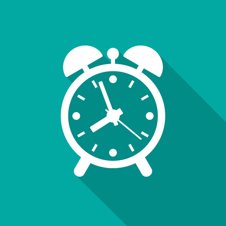 Alarm clock icon with long shadow. Flat design style. Clock simple silhouette. Modern, minimalist icon in stylish colors. Web site page and mobile app design vector element.
