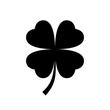 Four leaf clover icon. Black, minimalist icon isolated on white background. Clover simple silhouette. Web site page and mobile app design vector element. Illustration