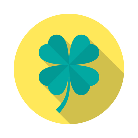 Four leaf clover circle icon with long shadow. Flat design style. Clover simple silhouette. Modern, minimalist, round icon in stylish colors. Web site page and mobile app design vector element. Illustration