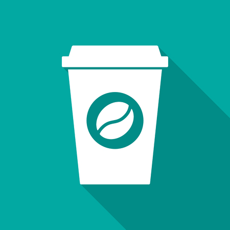 Coffee cup icon with long shadow. Flat design style. Coffee paper cup simple silhouette. Modern, minimalist icon in stylish colors. Web site page and mobile app design vector element.