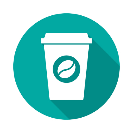Coffee cup circle icon with long shadow. Flat design style. Coffee cup simple silhouette. Modern, minimalist, round icon in stylish colors. Web site page and mobile app design vector element. Иллюстрация