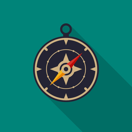Compass icon with long shadow. Flat design style. Compass simple silhouette. Modern, minimalist icon in stylish colors. Web site page and mobile app design vector element.