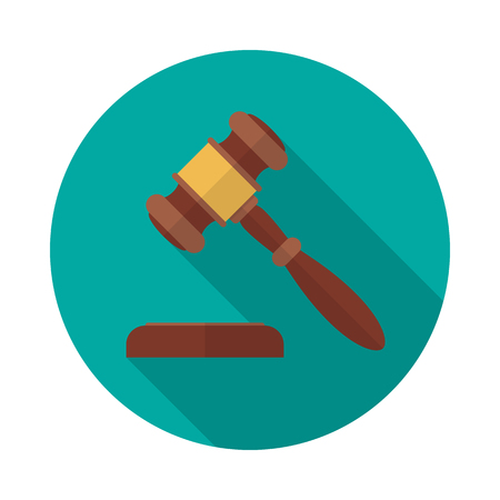 Auction or judge gavel circle icon with long shadow. Flat design style. Gavel simple silhouette. Modern, minimalist, round icon in stylish colors. Web site page and mobile app design vector element. Illustration