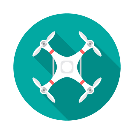 Drone circle icon with long shadow. Flat design style. Drone simple silhouette. Modern, minimalist, round icon in stylish colors. Web site page and mobile app design vector element.