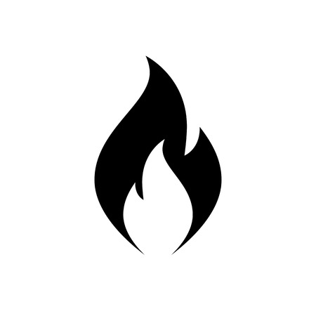 Fire flame icon. Black, minimalist icon isolated on white background. Fire flame simple silhouette. Web site page and mobile app design vector element.