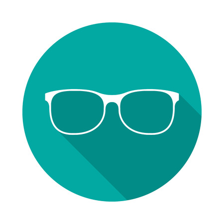 Glasses circle icon with long shadow. Flat design style. Glasses simple silhouette. Modern, minimalist, round icon in stylish colors. Web site page and mobile app design vector element.