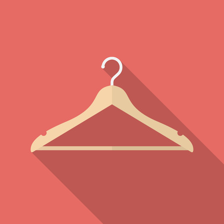Hanger icon with long shadow. Flat design style. Hanger simple silhouette. Modern, minimalist icon in stylish colors. Web site page and mobile app design vector element.