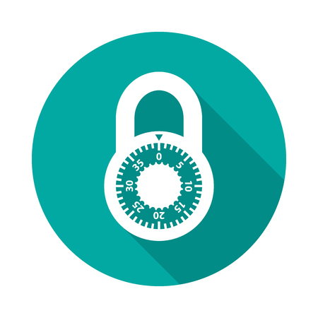 Lock circle icon with long shadow. Flat design style. Lock simple silhouette. Modern, minimalist, round icon in stylish colors. Web site page and mobile app design vector element.  イラスト・ベクター素材
