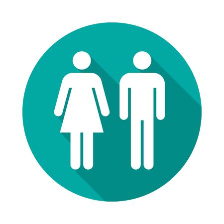 Mann und Frau kreisen Ikone mit langem Schatten ein. Flacher Design-Stil. Einfaches Schattenbild des Mannes und der Frau. Moderne Runde Symbol in stilvollen Farben. Website-Seite und Mobile-App-Design-Vektor-Element.