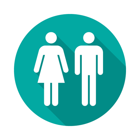 Man and woman circle icon with long shadow. Flat design style. Man and woman simple silhouette. Modern round icon in stylish colors. Web site page and mobile app design vector element.