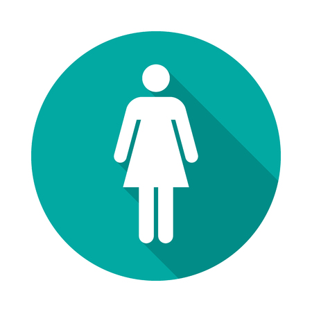 Woman circle icon with long shadow. Flat design style. Woman simple silhouette. Modern round icon in stylish colors. Web site page and mobile app design vector element.