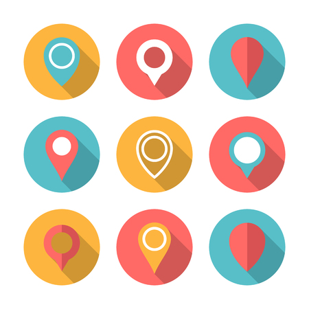 Map pointer circle icon set with long shadow. Flat design style. Map pointer simple silhouette. Modern, minimalist, round icon in stylish colors. Web site page and mobile app design vector element. Illustration