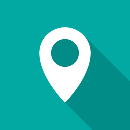 Map pointer icon with long shadow. Flat design style. Map pointer simple silhouette. Modern, minimalist icon in stylish colors. Web site page and mobile app design vector element.