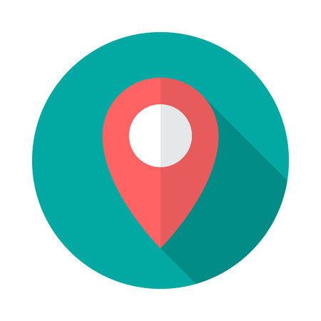 Map pointer circle icon with long shadow. Flat design style. Map pointer simple silhouette. Modern, minimalist, round icon in stylish colors. Web site page and mobile app design vector element. Illustration
