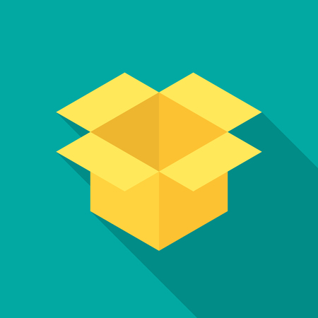 Box icon with long shadow. Flat design style. Parcel simple silhouette. Modern, minimalist icon in stylish colors. Web site page and mobile app design vector element.