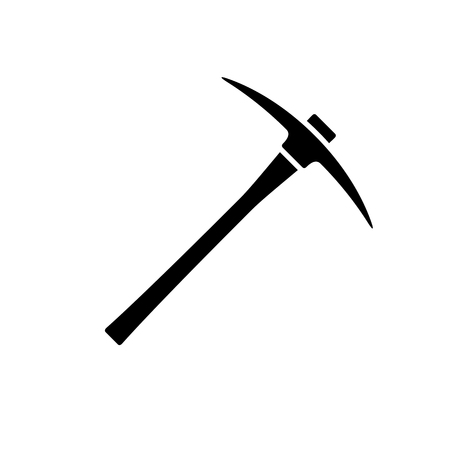 Pickaxe icon. Black, minimalist icon isolated on white background. Pick axe simple silhouette. Web site page and mobile app design vector element.