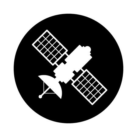 Satellietcirkel pictogram. Zwart, rond, minimalistisch pictogram op een witte achtergrond. Satelliet eenvoudig silhouet. Websitepagina en mobiel app-ontwerp vectorelement.