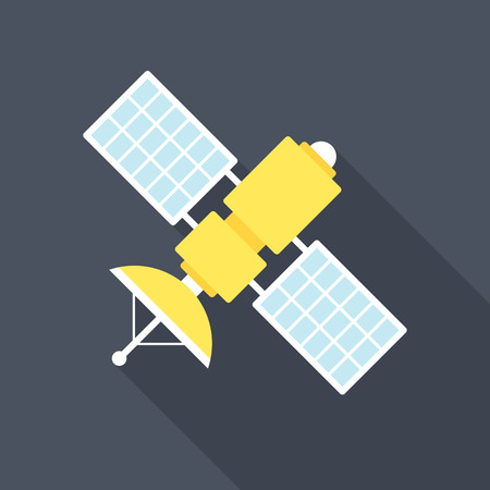 Satellite icon with long shadow. Flat design style. Satellite simple silhouette. Modern, minimalist icon in stylish colors. Web site page and mobile app design vector element.