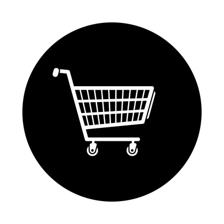 Shopping cart circle icon. Black, round, minimalist icon isolated on white background. Shopping cart simple silhouette. Web site page and mobile app design vector element. Illustration