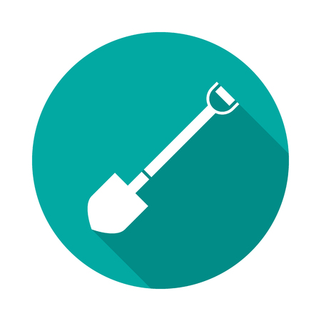 Shovel circle icon with long shadow. Flat design style. Shovel simple silhouette. Modern, minimalist, round icon in stylish colors. Web site page and mobile app design vector element.