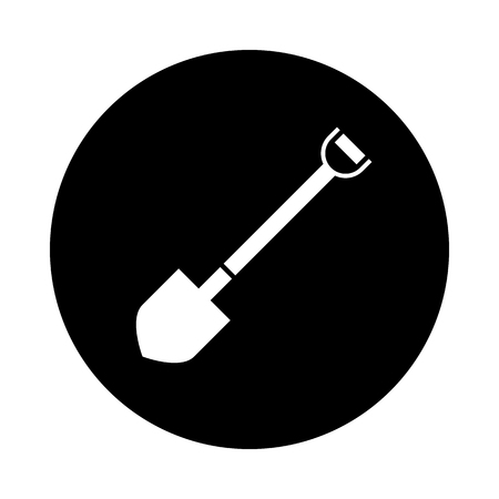 Shovel circle icon. Black, round, minimalist icon isolated on white background. Shovel simple silhouette. Web site page and mobile app design vector element.