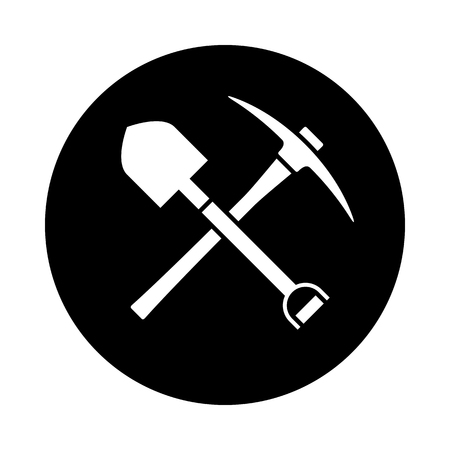 Shovel and pickaxe icon. Black icon isolated on white background. Round icon. Shovel and pick axe silhouette. Simple circle icon. Web site page and mobile app design vector element.