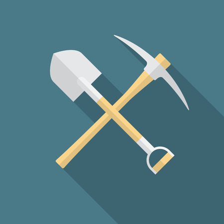 Shovel and pickaxe icon with long shadow. Flat design style. Shovel and pick axe silhouette. Simple icon. Modern flat icon in stylish colors. Web site page and mobile app design vector element. Illustration