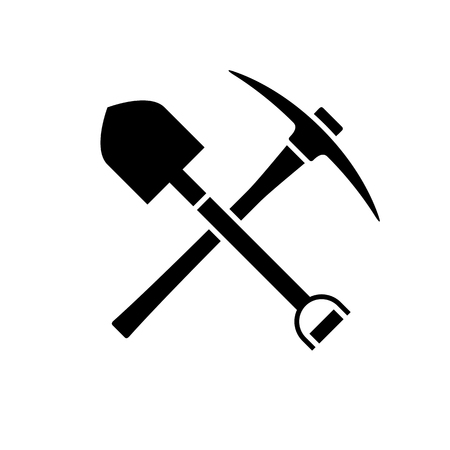 Shovel and pickaxe icon. Black icon isolated on white background. Shovel and pick axe silhouette. Simple icon. Web site page and mobile app design vector element.