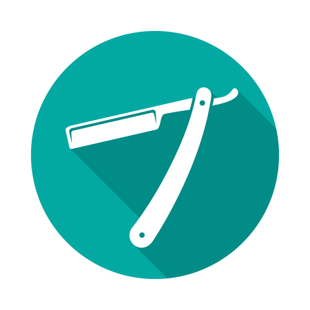 Straight razor circle icon with long shadow. Flat design style. Straight razor simple silhouette. Modern, minimalist, round icon in stylish colors. Web site page and mobile app design vector element.