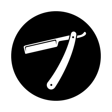 Straight razor circle icon. Black, round, minimalist icon isolated on white background. Straight razor simple silhouette. Web site page and mobile app design vector element.