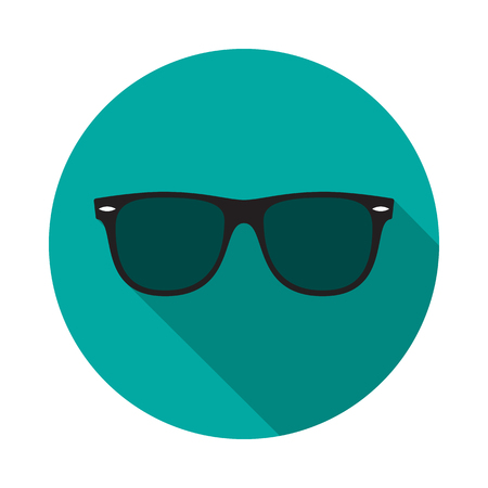 Sunglasses circle icon with long shadow. Flat design style. Sunglasses simple silhouette. Modern, minimalist, round icon in stylish colors. Web site page and mobile app design vector element. Stock Illustratie