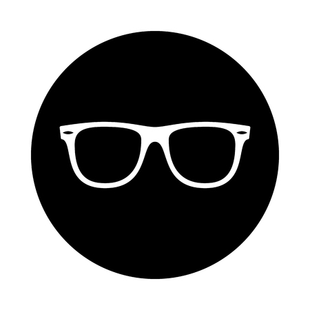 Sunglasses circle icon. Black, round, minimalist icon isolated on white background. Sunglasses simple silhouette. Web site page and mobile app design vector element.