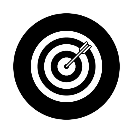 Target circle icon. Black, round, minimalist icon isolated on white background. Dartboard simple silhouette. Web site page and mobile app design vector element.