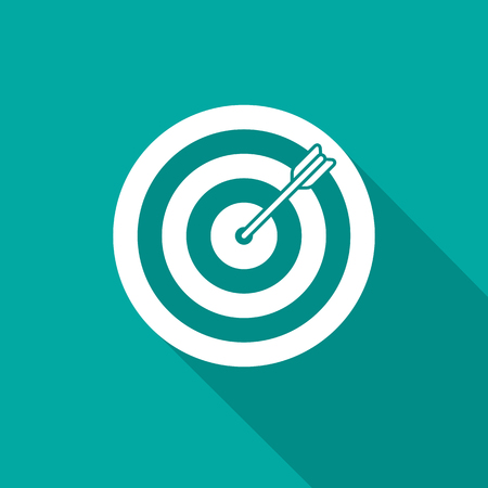 Target icon with long shadow. Flat design style. Dartboard simple silhouette. Modern, minimalist icon in stylish colors. Web site page and mobile app design vector element.