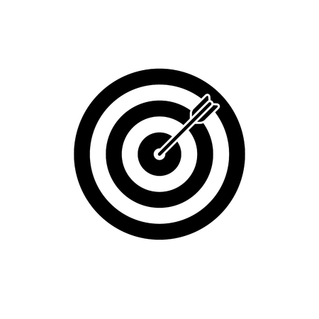 Target icon. Black, minimalist icon isolated on white background. Dartboard simple silhouette. Web site page and mobile app design vector element. Stock Illustratie